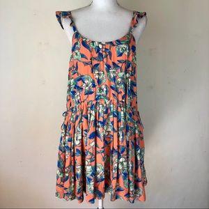 Free People Floral Deep U Back Mini dress Sz Small